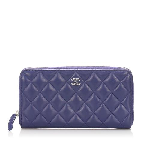 Chanel Quilted CC Timeless Zip Around Wallet