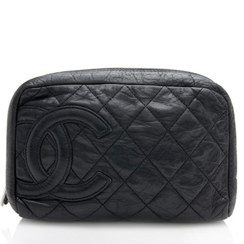 Chanel Quilted Calfskin Cotton Club Cosmetic Bag