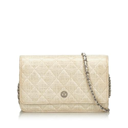Chanel Quilted Coated Canvas Wallet on Chain Bag