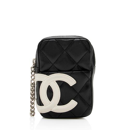 Chanel Quilted Lambskin Ligne Cambon Zip Mini Pouch
