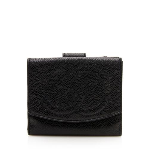 Chanel Vintage Caviar Leather French Purse Wallet