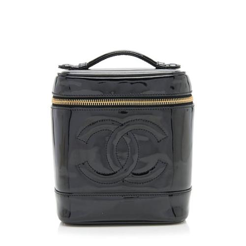 Chanel Vintage Patent Leather CC Cosmetic Train Case