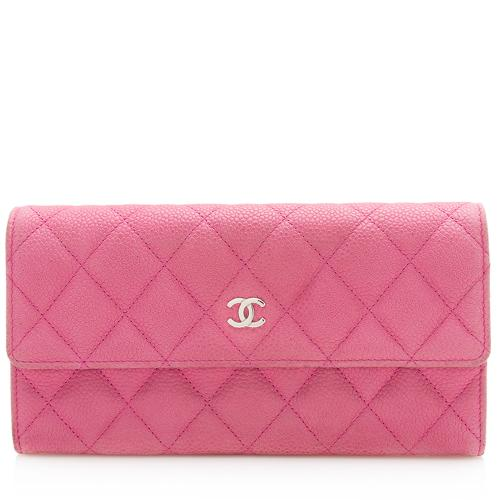 Chanel Washed Caviar Leather Long Flap Wallet