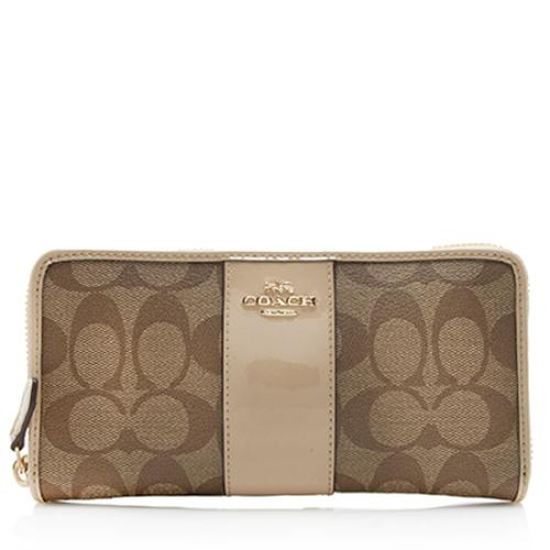 Coach CC Leather Accordion Zip Wallet