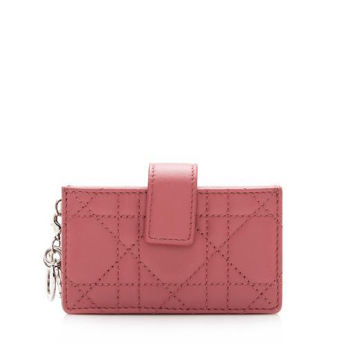 Dior Cannage Calfskin Lady Dior Five-Gusset Card Holder