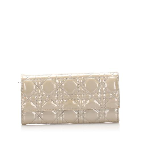 Dior Cannage Patent Leather Long Wallet