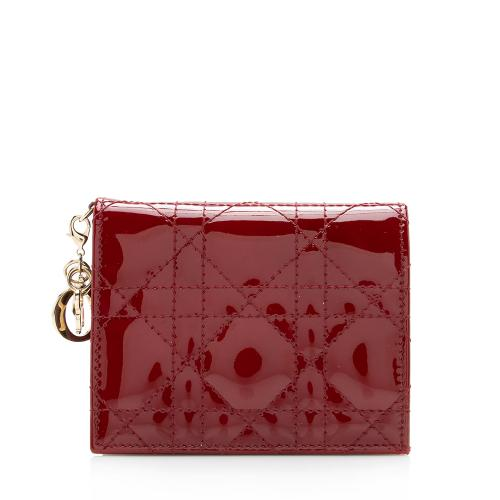 Dior Patent Leather Cannage Lady Dior Lotus Wallet