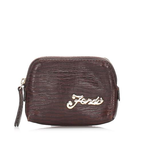 Fendi Embossed Leather Coin Pouch