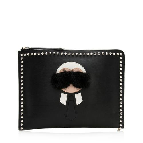 Fendi Leather Karlito Zip Pouch