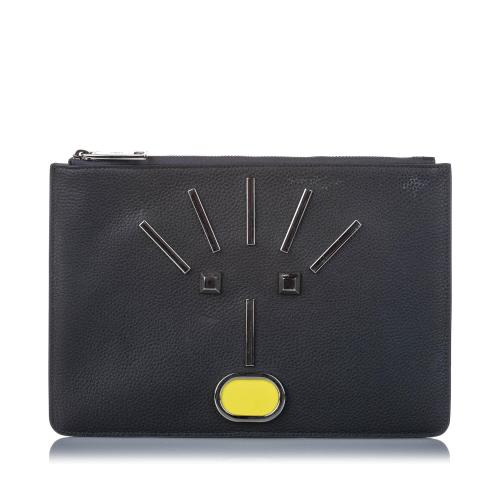 Fendi Leather Monster Zip Pouch