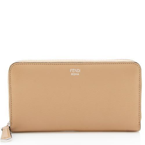 Fendi Leather Zip Around Wallet