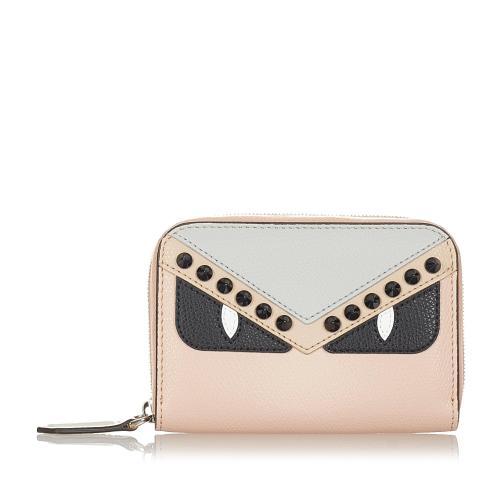 Fendi Monster Leather Zip Around Small Wallet