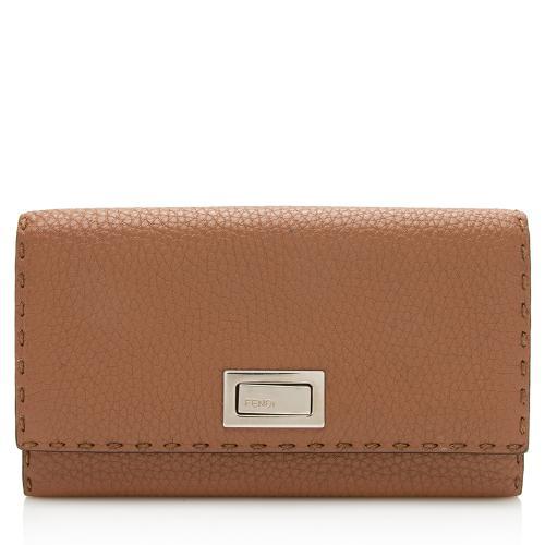 Fendi Selleria Leather Peekaboo Continental Wallet