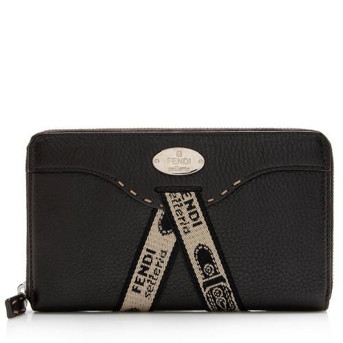 Fendi Selleria Leather Zip Around Wallet
