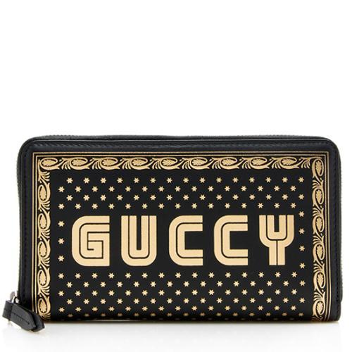 Gucci Calfskin Star Print Guccy Zip Around Wallet
