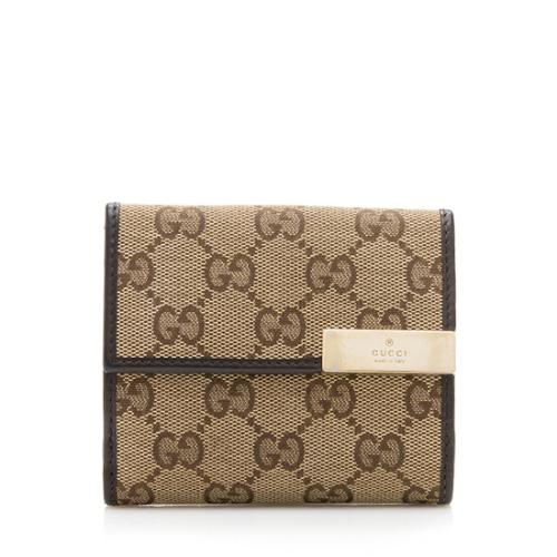 Gucci Canvas GG Metal Plate Compact Wallet