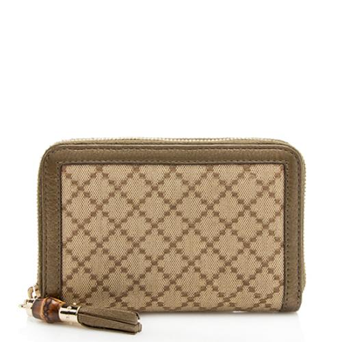 Gucci Diamante Bamboo Tassel Zip Around Small Wallet