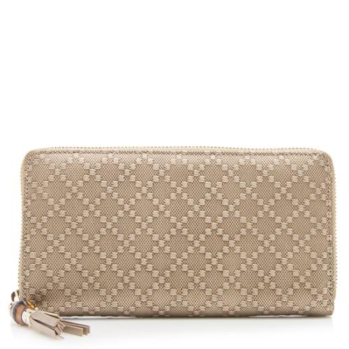 Gucci Diamante Embossed Leather Bamboo Tassel Wallet