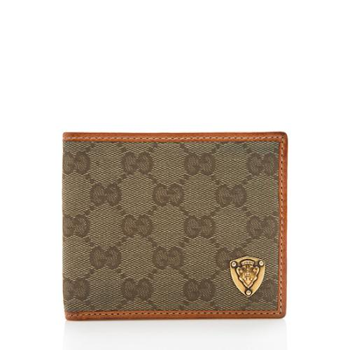 Gucci GG Canvas Leather Crest Bi-Fold Wallet