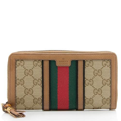 Gucci GG Canvas Leather Web Bamboo Tassel Raina Zip Around Wallet
