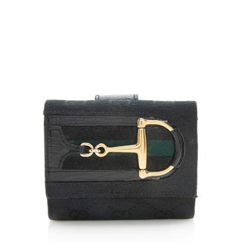 Gucci GG Canvas Web Horsebit Compact Wallet