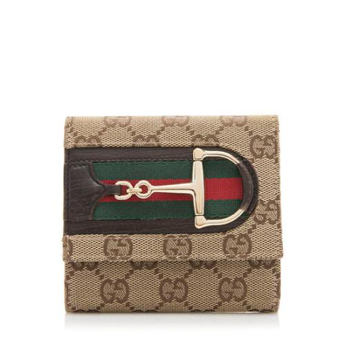 Gucci GG Canvas Web Horsebit Compact Wallet