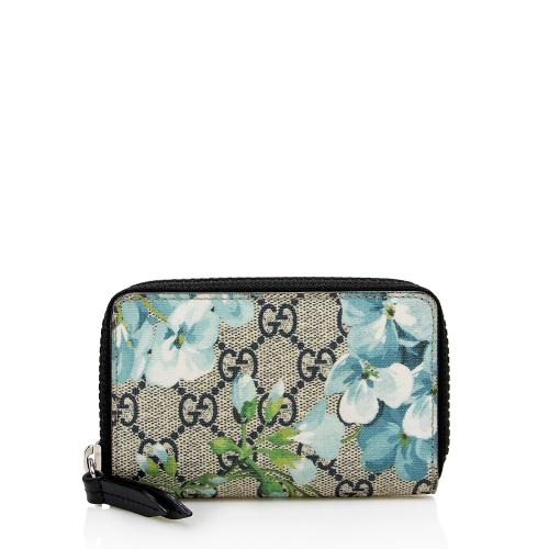 Gucci GG Supreme Blooms Compact Zip Wallet