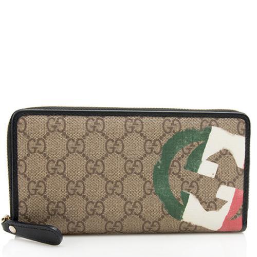Gucci GG Supreme Italian Flag Zip Around Wallet