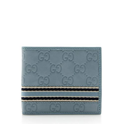 Gucci Guccissima Leather Web Bi-Fold Wallet