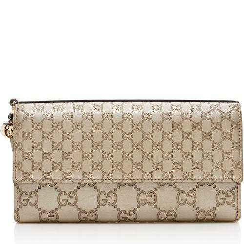 Gucci Guccissima Metallic Leather Bree Continental Wallet