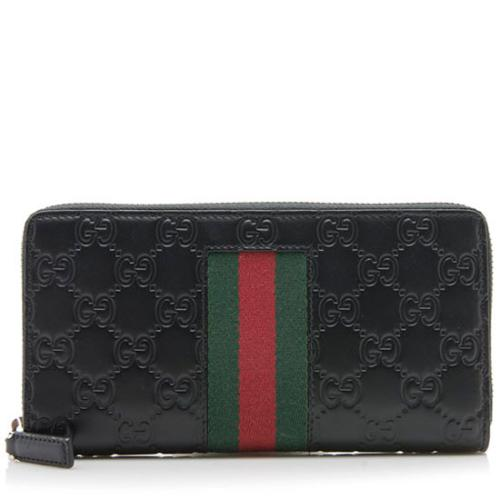 Gucci Guccissima Web Zip Around Wallet