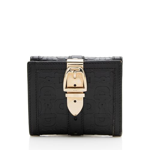 Gucci Horsebit Embossed Leather Buckle Compact Wallet