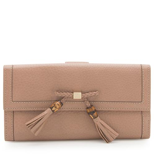 Gucci Leather Bamboo Tassel Bella Continental Wallet