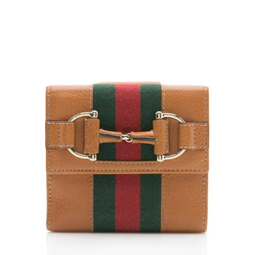 Gucci Leather Horsebit Web French Wallet