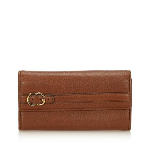 Gucci Leather Belted Double G Continetal Wallet