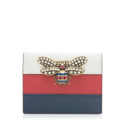 Gucci Leather Queen Margaret Bee Card Case