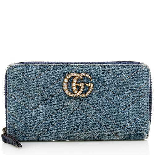 Gucci Matelasse Denim Pearl GG Marmont Zip Wallet