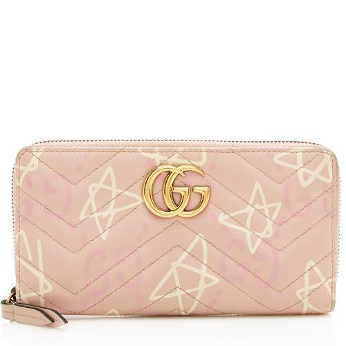 Gucci Matelasse GG Marmont Ghost Zip Around Wallet