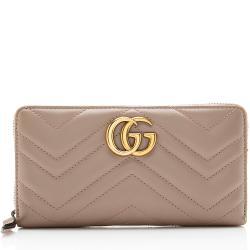 Gucci Matelasse Leather GG Marmont Zip-Around Wallet