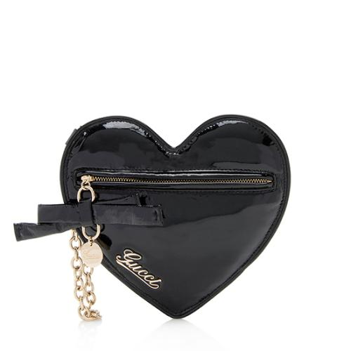 Gucci Patent Leather Heart Wristlet