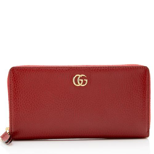Gucci Pebbled Leather GG Marmont Zip Around Wallet
