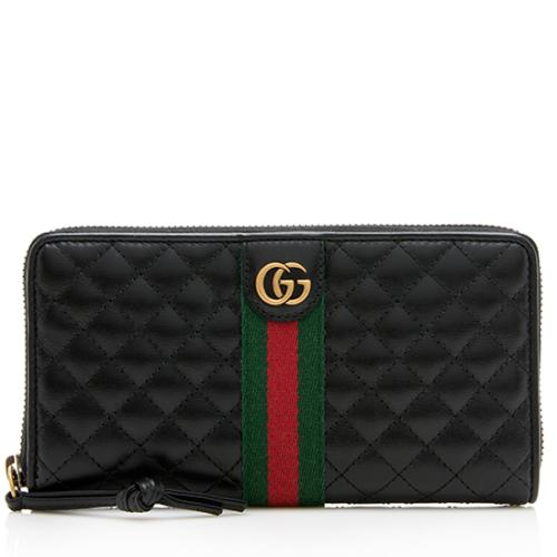 Gucci Quilted Leather Web GG Marmont Zip Around Wallet