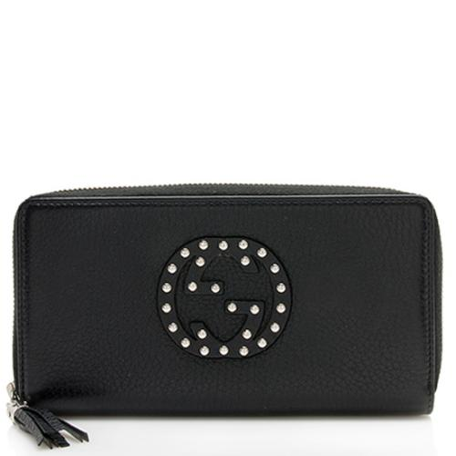 Gucci Studded Leather Soho Zip Around Wallet