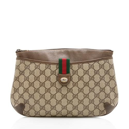 Gucci Vintage GG Plus Web Zip Clutch - FINAL SALE
