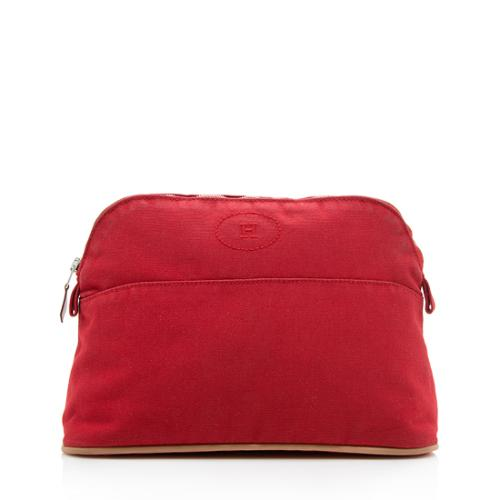 Hermes Canvas Bolide Cosmetic Pouch