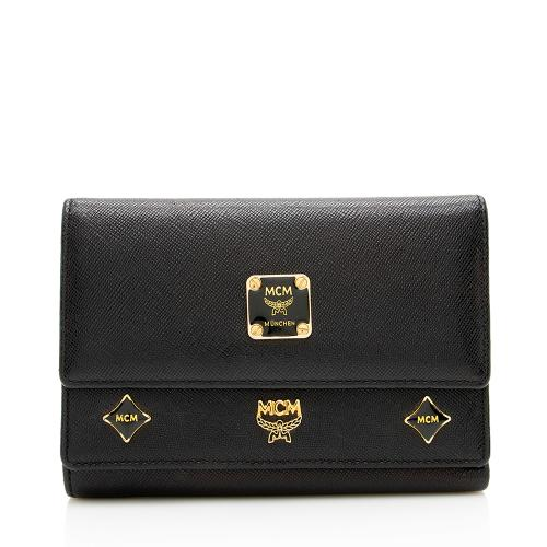 MCM Leather Charms Tri-Fold Wallet