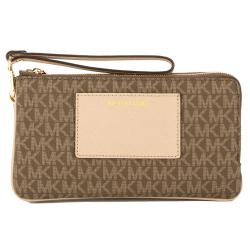 Michael Kors Signature Canvas Bedford Large Double Zip Wristlet