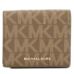 Michael Kors Signature Canvas Jet Set Travel Logo Card Case Wallet