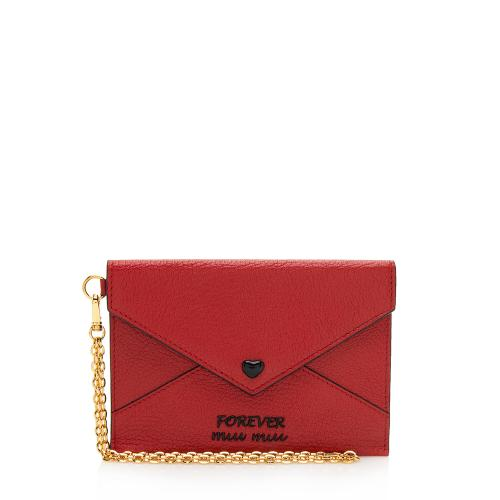 Miu Miu Goat Leather Madras Forever Envelope Pouch