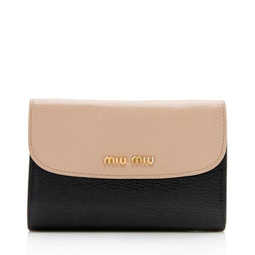 Miu Miu Madras Two-Tone Compact Wallet